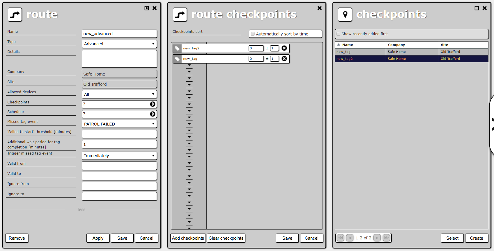Advanced route details, route checkpoint list and site checkpoint list