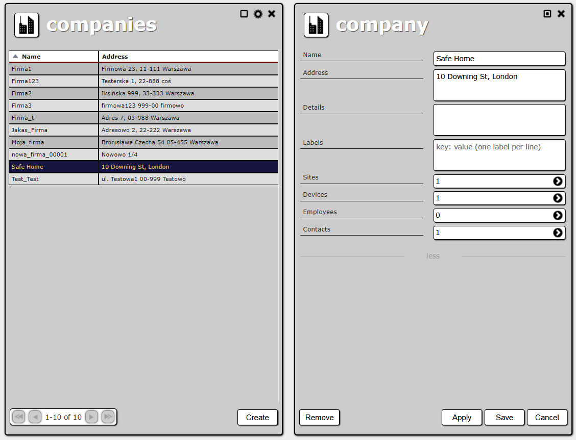 Company list and company creation