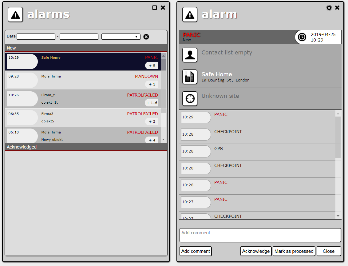 Alarm list and alarm details