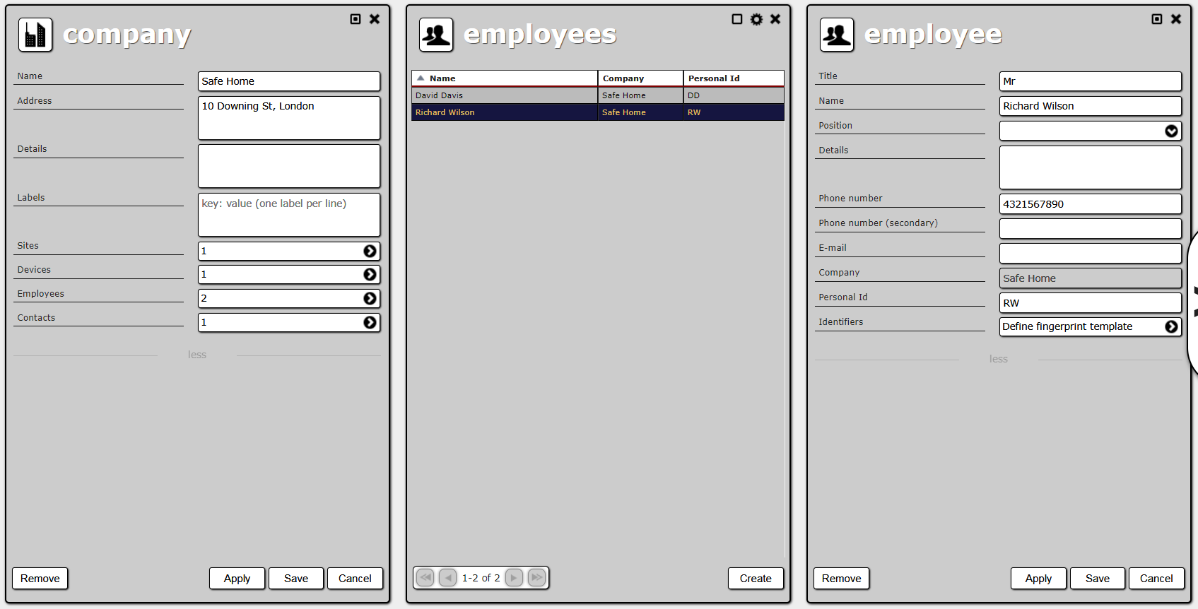 Company details,employee list and employee details