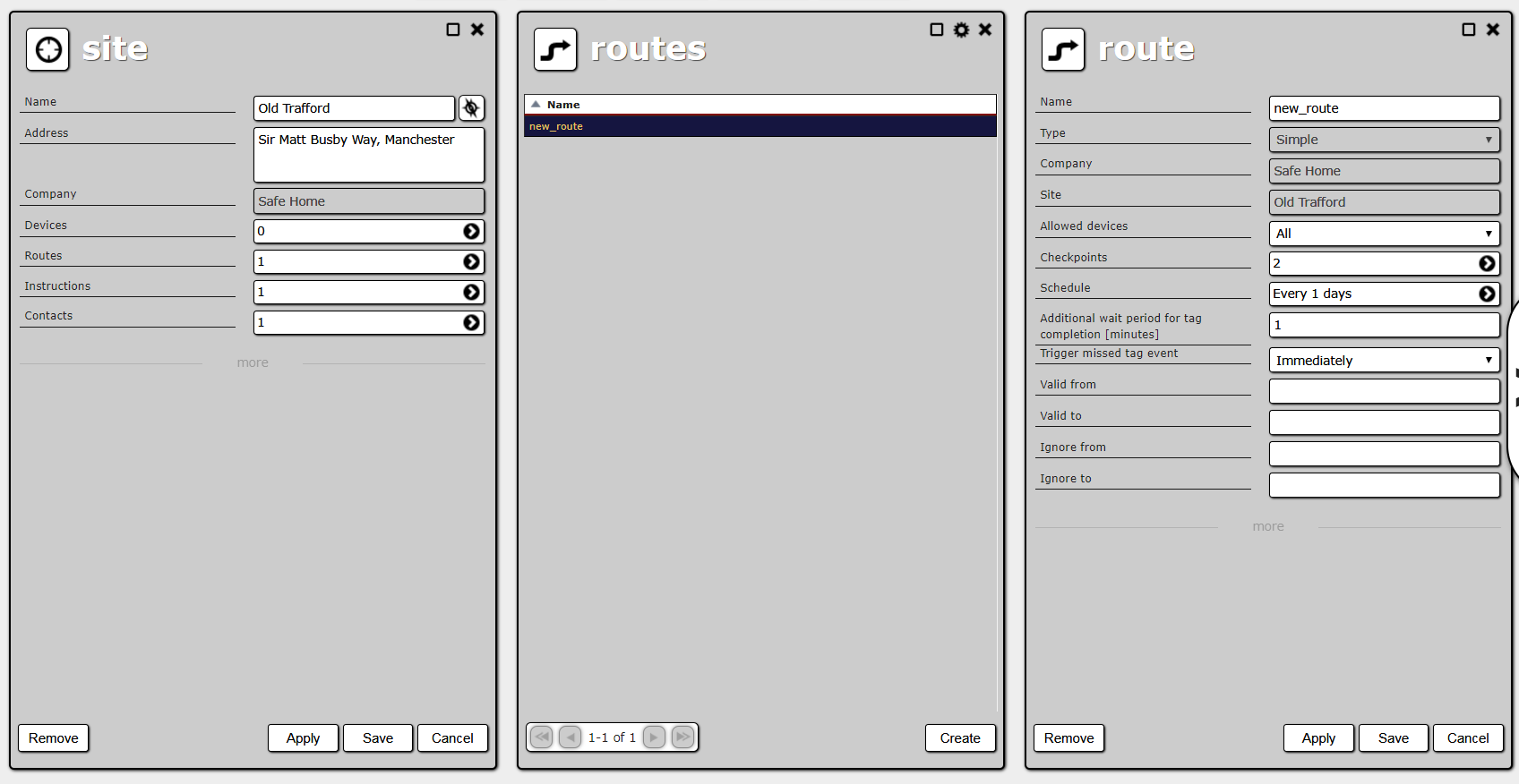 Site details, route list and route creation