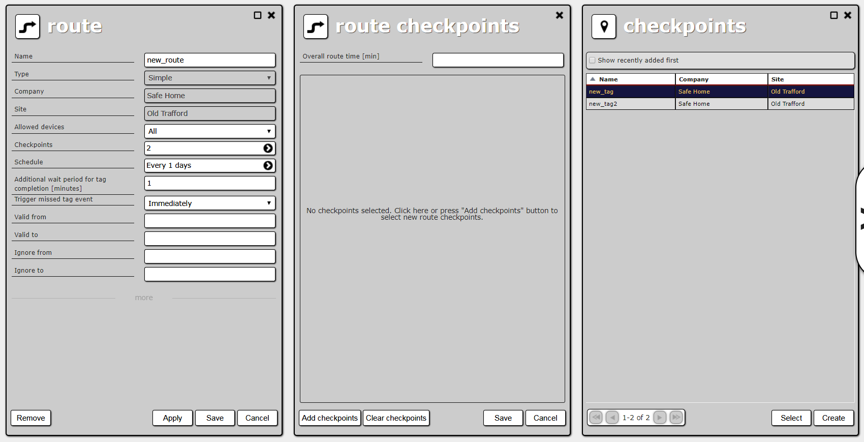 Route creation, route's checkpoint list and site's checkpoint list