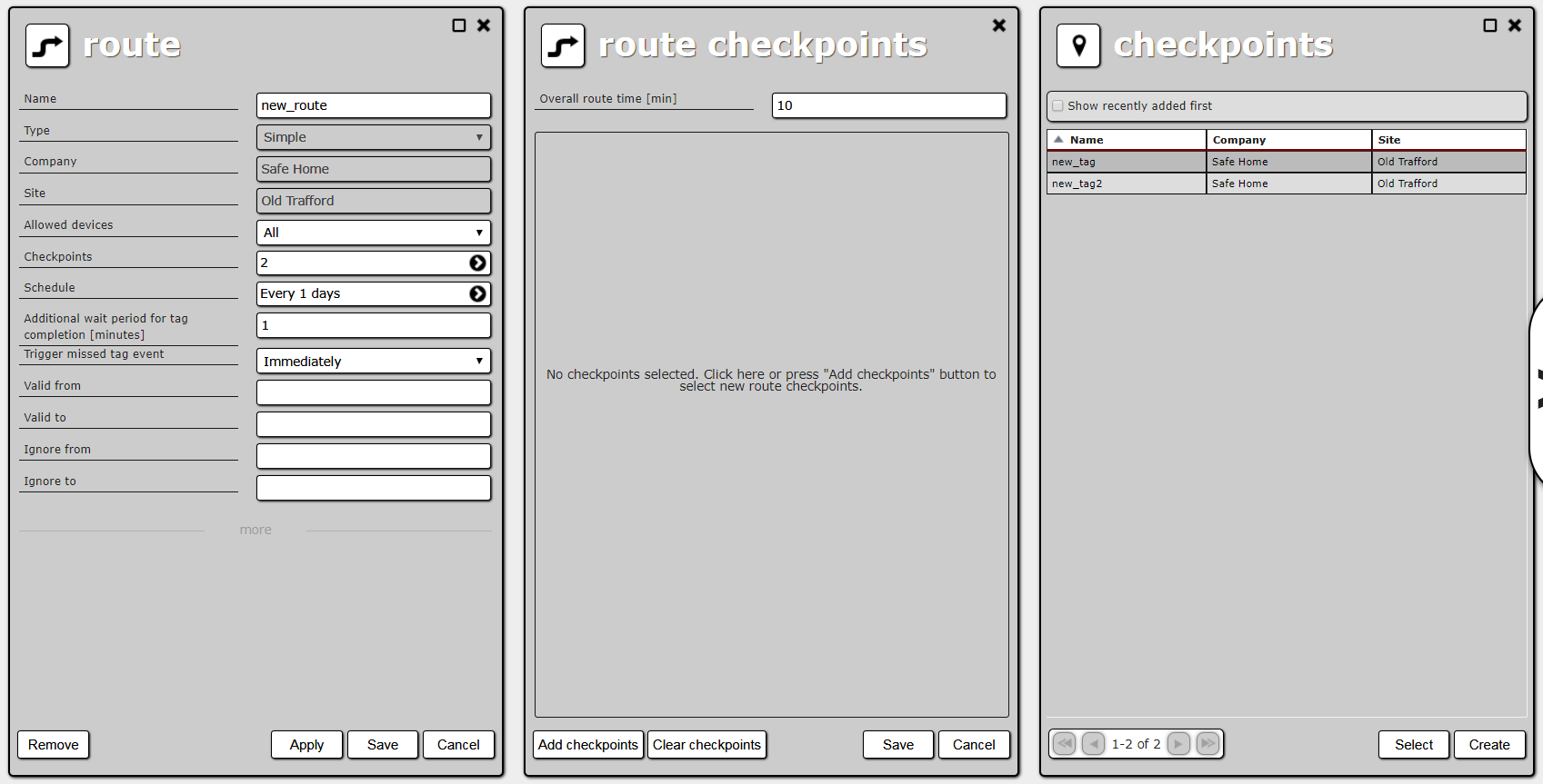 Route creation, route checkpoint list and site checkpoint list